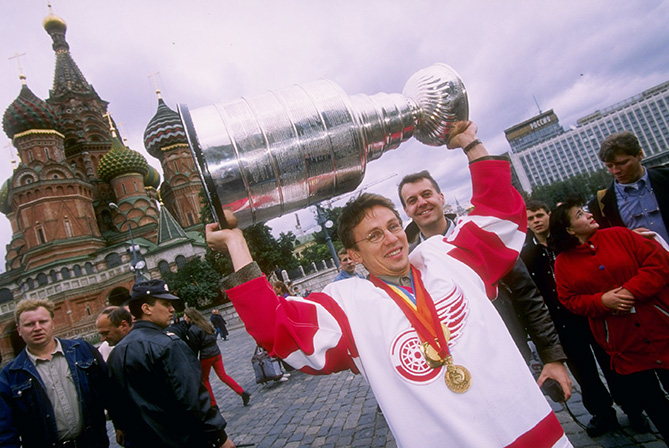 Center Igor Larionov of the Detroit Red Wings holds the Stanley Cup at Red Square in Moscow, Russia.