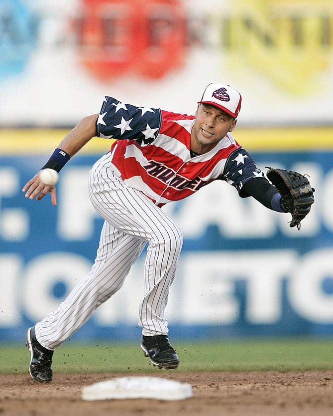 Even the rehabbing Derek Jeter looked uncool in this July 4-themed abomination for the minor league Trenton Thunder. Yankees GM Brian Cashman seized the embarrassing moment: He snapped a picture of Jeter in the patriotic getup and sent it to his big league teammates.