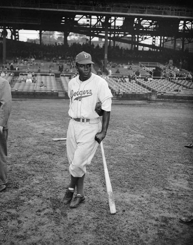 Brooklyn Dodgers baseball player Jackie Robinson at Forbes Field, Oakland, c1947
