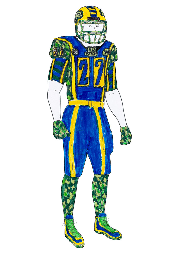 And we think the touch of camouflage is sure to deceive Notre Dame's opponents. Or make them run the other way?                   <p>                   J.J., 13, Illinois