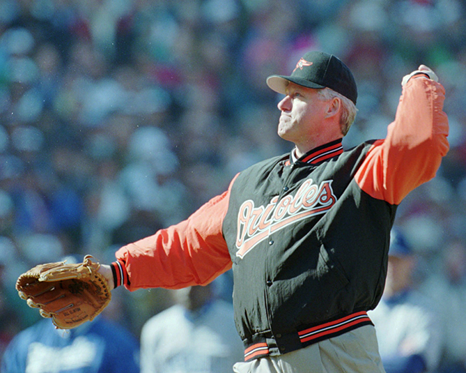 President Clinton threw three first pitches and attended seven games — three in Baltimore, and one each in Cleveland, New York, Chicago, and San Francisco — including the first game at Cleveland's Jacobs Field, the game Jackie Robinson's #42 was retired, and the night Cal Ripken, Jr., broke Lou Gherig's consecutive-game record. That was also the first time both a sitting president and vice president attended the same game outside Washington. Clinton also has some bragging rights: He was the first president to throw a first pitch from the mound to the catcher's mitt.