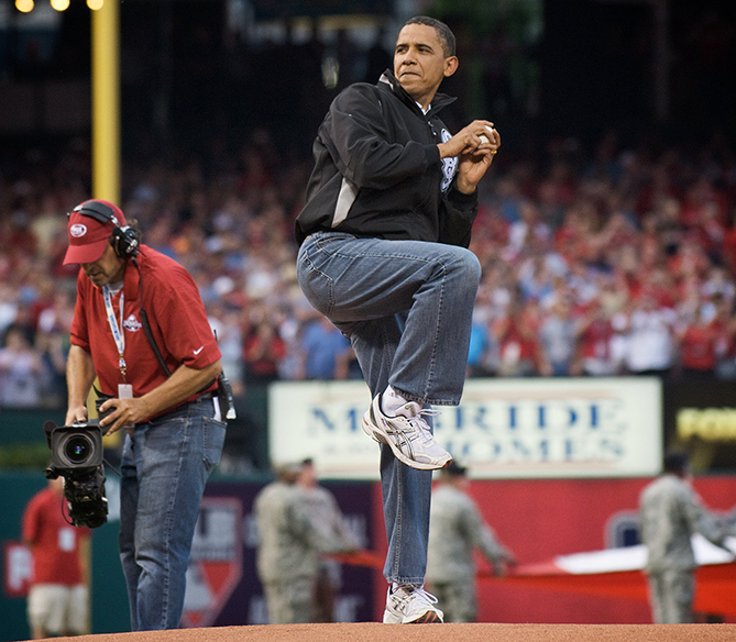 President Obama has thrown out two first pitches and attended a total of three games (so far), two in Washington and the 2009 All-Star Game in St. Louis. Obama, a die-hard Chicago White Sox fan, tossed the first pitch at Nationals opening day in 2010. He walked to the mound in a Nats jacket, but before he pitched he pulled out a White Sox hat and wore it as he threw — just in case anyone doubted his allegiance to the Sox!