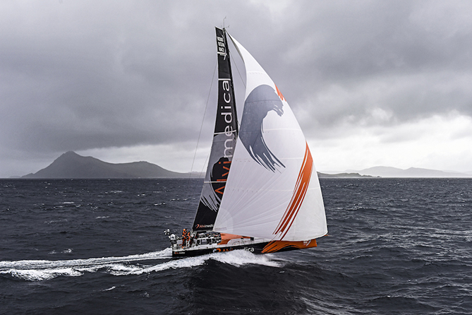 March 30, 2015. Team Alvimedica leading the fleet around Cape Horn.