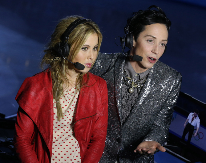 Tara and Johnny's keen commentary kept viewers in the know while they watched the 2014 Winter Olympics skating competitions.
