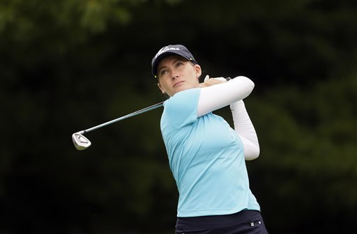 Sarah Jane Smith drives on the second hole during the third round of the Meijer LPGA Classic golf tournament at Blythefield Country Club, Saturday, July 25, 2015 in Belmont, Mich. (AP Photo/Carlos Osorio)