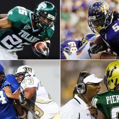 Clockwise from top left: Matt Forte at Tulane, Chris Johnson at ECU, Jason Pierre-Paul at UCF, Dontari Poe at Memphis