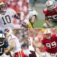 Clockwise from top left: Tom Brady at Michigan; Nick Mangold at Ohio State; J.J. Watt at Wisconsin; Tamba Hali at Penn State