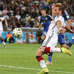 Mario Gotze lines up his World Cup-winning goal in the 113th minute of Germany's 1-0 triumph over Argentina.