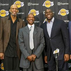 The Los Angeles Lakers introduced Byron Scott (center) as their new head coach on Tuesday, alongside (L-R): Jamaal Wilkes, Kareem Abdul-Jabbar, Magic Johnson and GM Mitch Kupchak.