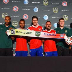 From left to right: Pep Guardiola, Thierry Henry, Julian Green, Robert Lewandowski, Franck Ribery, Matt Besler, Clint Dempsey and Caleb Porter.