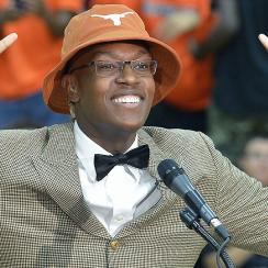 Myles Turner made his first splash for the Longhorns when he announced his decision to attend Texas using this hat.