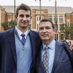 Austin Hatch (L) poses with his Uncle Michael Hatch, with whom he lived during his senior year of high school basketball.