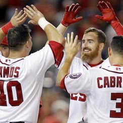 The Washington Nationals celebrate Adam LaRoche's walk-off homer — their third walkoff in as many games — but bullpen issues could hinder a deep postseason run.