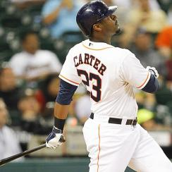 Houston's Chris Carter belted his 32nd home run of the year Tuesday night, a three-run blast that helped the Astros defeat the A's 4-2.