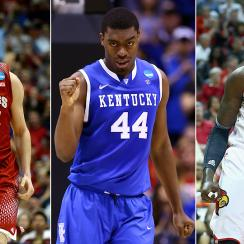 From left to right, Wisconsin's Frank Kaminsky, Kentucky's Dakari Johnson and Louisville's Montrezl Harrell.