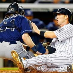Stephen Drew of the New York Yankees was ruled out at home after the umpires correctly interpreted Rule 7.13.