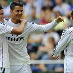 Cristiano Ronaldo had a hat trick, Javier Hernandez got two goals, and James Rodriguez scored once in Real Madrid's big win.