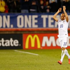 Landon Donovan applauds the fans as he exits his final U.S. men's national team match.