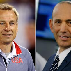 Jurgen Klinsmann, left, and Don Garber are at the center of a heated debate over MLS and its players.