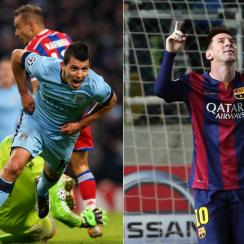 Sergio Aguero, left, and Lionel Messi each netted important hat tricks in Tuesday's Champions League matches.