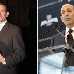Then and now: Don Garber at his introductory press conference as MLS commissioner, left, and introducing Atlanta's expansion franchise, right.