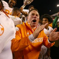 Butch Jones celebrates with his team after defeating the South Carolina Gamecocks 45-42 on Nov. 1