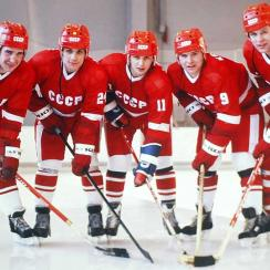 A new film showcases the men at the heart of Soviet hockey in the 1980s: (from left) Alexei Kasatanov, Sergei Makarov, Igor Larionov, Vladimar Krutov and Slava Fetisov.