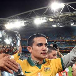 After leading Australia to the Asian Cup title, Tim Cahill has left the New York Red Bulls for Shanghai Shenhua in China.