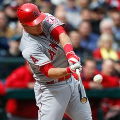 MIke Trout homered in his first at-bat but later struck out three times in the Angels' season-opening loss in Seattle.
