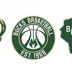 From left, the Milwaukee Bucks' new primary, secondary and tertiary logos. (Bucks)