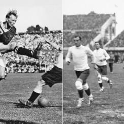 Left: Austria forward Matthias Sindelar, pictured in 1931 | Right: Uruguay, led by captain and defender Jose Nasazzi in the 1930 World Cup.