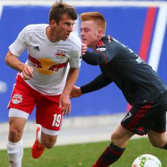 New York Red Bulls first-round MLS SuperDraft pick Leo Stolz plays for Red Bulls II against Toronto FC II in a USL match in April.