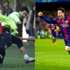 Left: Rising talent Lionel Messi in 2005; Right: World-class superstar Lionel Messi in 2015