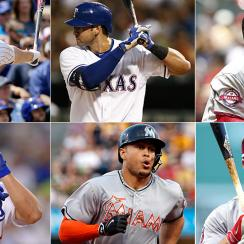 [Clockwise from top left] Kris Bryant, Joey Gallo, Bryce Harper, Mike Trout, Giancarlo Stanton, Joc Pederson