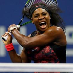 Serena Williams returns a shot to Bethanie Mattek-Sands during their Women's Singles Match on Day Five of the 2015 U.S. Open.