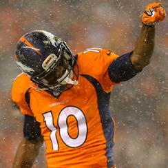 Wide receiver Emmanuel Sanders #10 of the Denver Broncos celebrates after a first down reception.