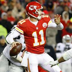 Kansas City Chiefs quarterback Alex Smith (11) during the game between the Oakland Raiders and the Kansas City Chiefs at Arrowhead Stadium in Kansas City, MO.