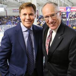 Emrick (right) with NBC's Bob Costas