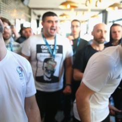 Giuseppe Guastella, left, falls to eventual FIFA Interactive World Cup champion Mohamad Al-Bacha