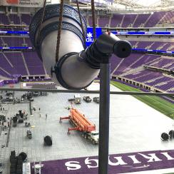 The Gjallarhorn looms over the Minnesota Vikings' new stadium.