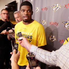 Nashville Predators defenseman P. K. Subban talks to reporters on the first day of NHL hockey training camp Thursday, Sept. 22, 2016, in Nashville, Tenn.