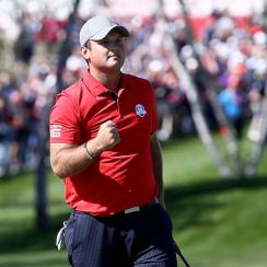 Patrick Reed of the United States reacts on the first green during afternoon fourball matches of the 2016 Ryder Cup at Hazeltine National Golf Club on September 30, 2016 in Chaska, Minnesota. (Photo by Sam Greenwood/Getty Images)