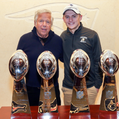 New England Patriots owner Robert Kraft and Foxborough High quarterback Mark Clagg.