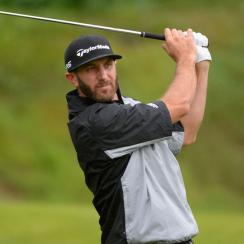 Dustin Johnson leads the rain-soaked Genesis Open after 36 holes.