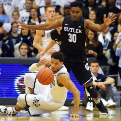 Josh Hart #3 of the Villanova Wildcats slips and falls in front of Kelan Martin #30 of the Butler Bulldogs at The Pavilion on February 22, 2017 in Villanova, Pennsylvania. (Photo by Drew Hallowell/Getty Images)