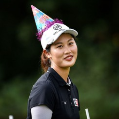 Xi Yu Lin wears a birthday hat during the Honda LPGA Thailand.