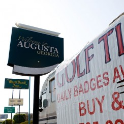 Tickets scalpers look for badges along Washington Road in front of Augusta National Golf Club.