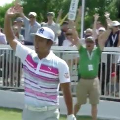 Hideto Tanihara had the shot of the tournament on Sunday.