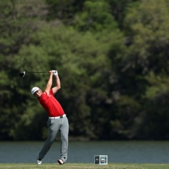 Jon Rahm tees off on the 14th hole of his match during the semifinals of the World Golf Championships-Dell Technologies Match Play.