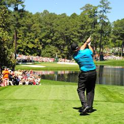 Phil Mickelson tees off during a past Par-3 Contest.